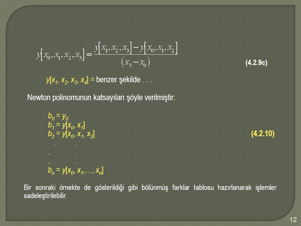 y[x1, x2, x3, x4] = benzer şekilde . . .